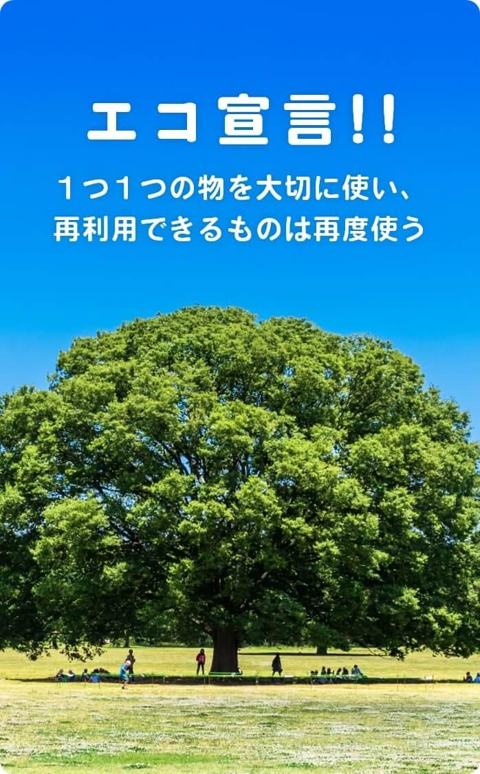エコ宣言!! 1つ1つの物を大切に使い、再利用できるものは再度使う